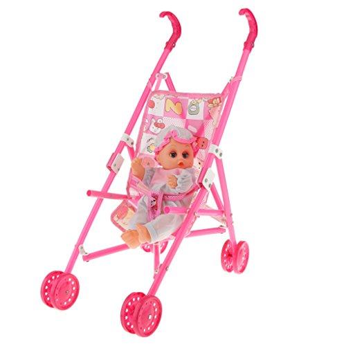Multicolored Doll Stroller Plastic Children Pram Pushchair Toy Play Set 1