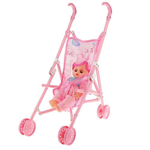 Multicolored Doll Stroller Plastic Children Pram Pushchair Toy Play Set 2