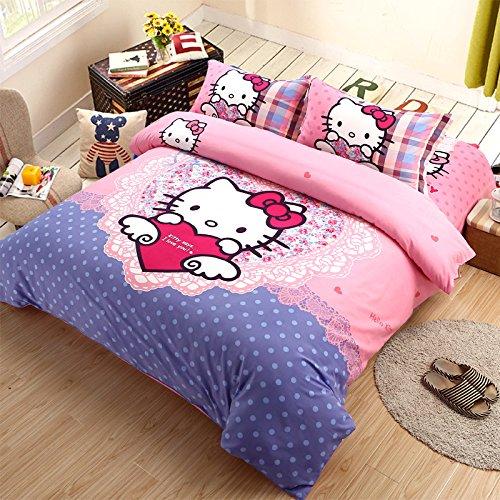 Sisbay Baby Kitty Garden Bedding King Size for PrincessFashion Cat Cartoon Quilt CoverDisney Bed Sheets Birthday Gift3pcs