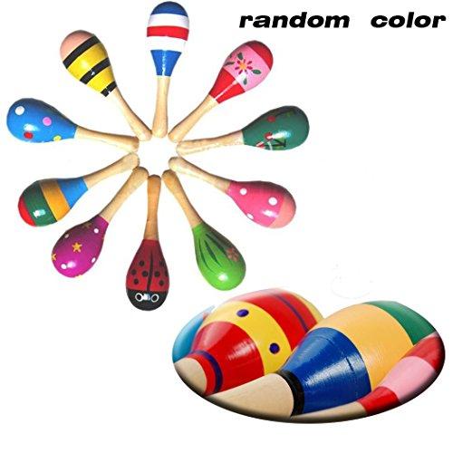 Black MenbaWooden Maracas Egg Rattle Shakers10PCSRandom Color