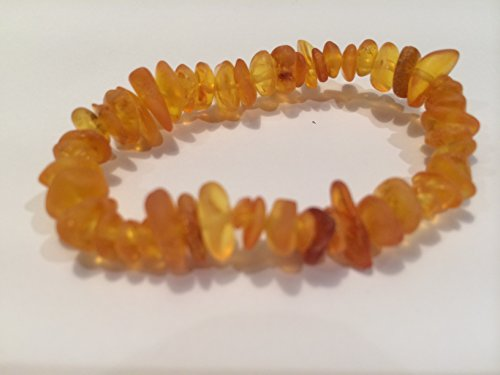 Baltic Amber Teething Bracelet 55 - 6 Inches Stretch for Babies - polished honey brown Baby Infant and Toddlers drooling fever fussiness Organic Certified