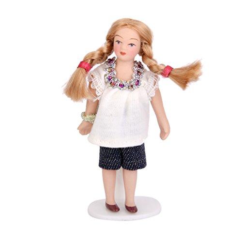 112 Scale Dollhouse Miniature Porcelain Dolls Little Girl in White T-shirt