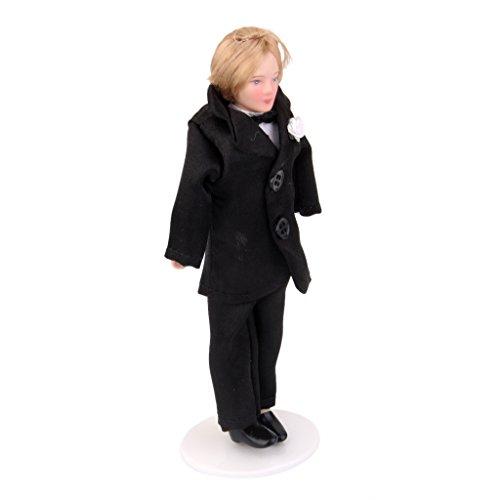 Dollhouse Miniature Porcelain Doll Groom in Black Suit