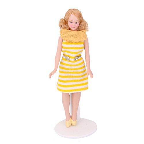 Dollhouse Miniature Porcelain Doll Lady in Striped Dress