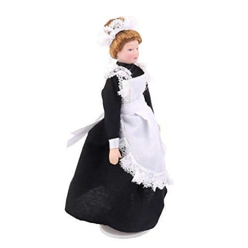 Dolls House Miniature 112 Scale Porcelain Victorian Maid Servant in Uniform