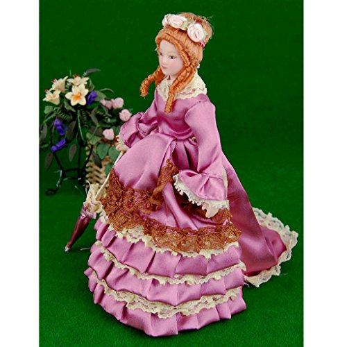 Dolls House Miniature Porcelain Figures Dolls Victorian Elegant Lady 112