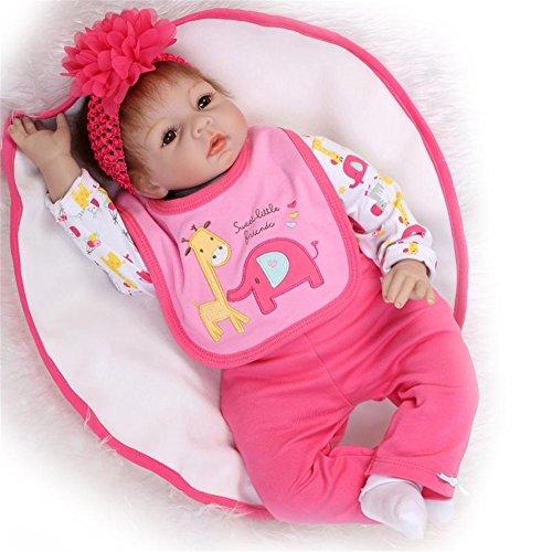 SanyDoll Reborn Baby Doll Soft Silicone vinyl 22inch 55cm Lovely Lifelike Cute Baby Boy Girl Toy Lovely peach red set doll