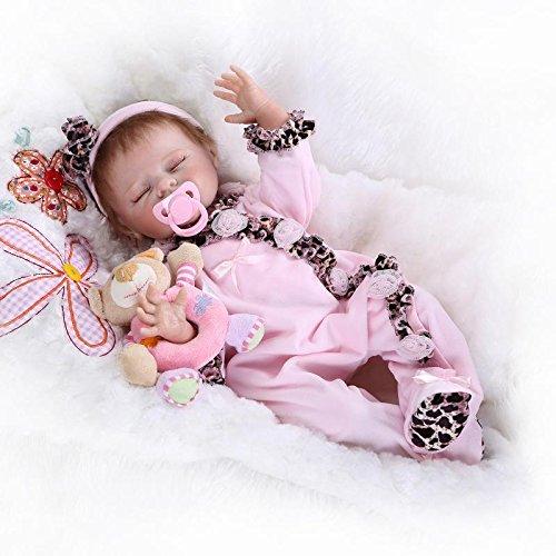 SanyDoll Reborn Baby Doll Soft Silicone vinyl 22inch 55cm Lovely Lifelike Cute Baby Boy Girl Toy Pink sleeping doll