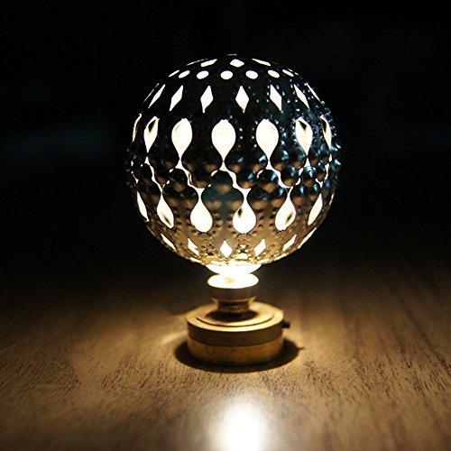 BESTLEE Dollhouse Miniature Sphere Hollow LED Light Desk Lamp Silver