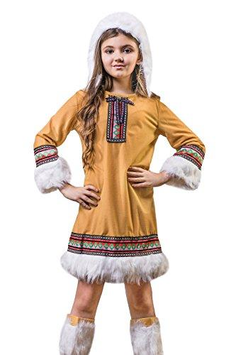 Kids Girls Eskimo Girl Halloween Costume Alaska Ice Sweetie Dress Up Role Play 3-6 years tawny brown white