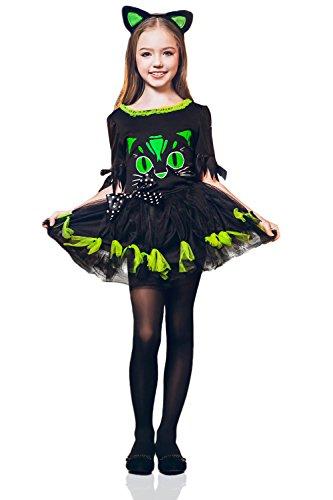 Kids Girls Kitty Cat Halloween Costume Miss Meow Catgirl Dress Up Role Play 8-11 years green black