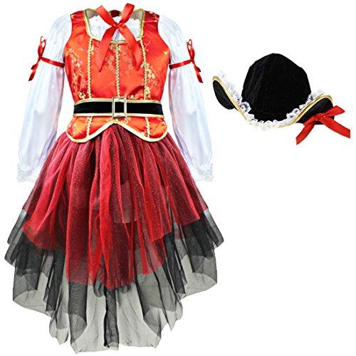 iiniim Kids Girls Halloween Dress Cosplay Costumes Tops Paired with Skirt and Hat Black Red White 6-7