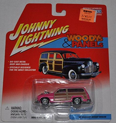 1950 Mercury Woody Wagon Pink - Woodys Panels - Johnny Lightning - Diecast Car