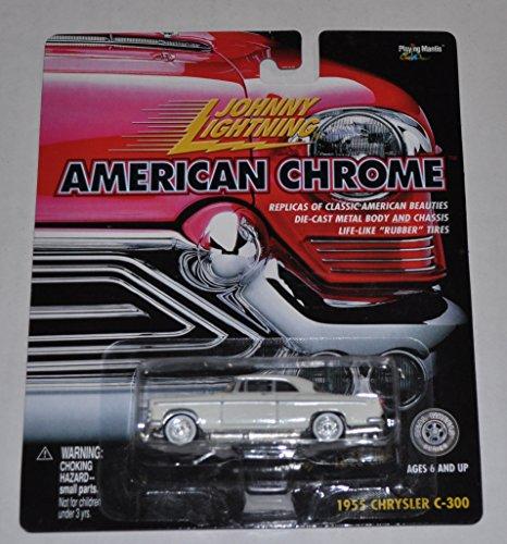 1955 Chrysler C-300 White - American Chrome - Johnny Lightning - Diecast Car