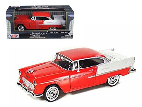 1955 Chevy Bel Air Red - Motormax Premium American 73229 - 124 Scale Diecast Model Car
