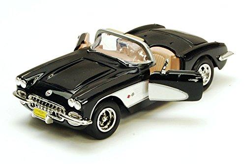 1959 Chevy Corvette Convertible Black - Motormax 73216 - 124 scale Diecast Model Toy Car