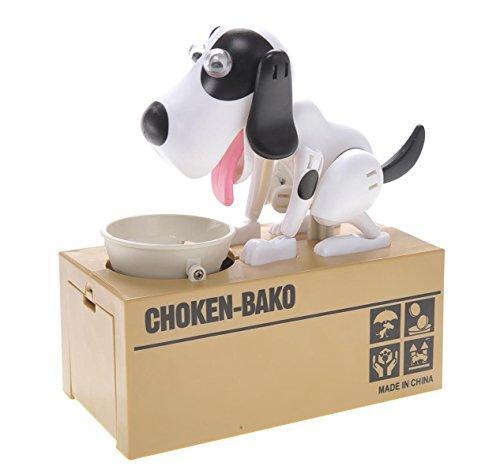 PowerTRCÂ Toy Figure Dog Piggy Bank White Black