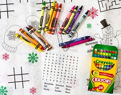 Kids Coloring and Activity Christmas TablecoverTablecloth Bundle - 2 Items 1 Tablecover and 1 Box of 24 Crayola Crayons