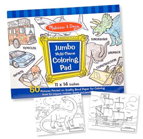 Melissa Doug Jumbo 50-Page Kids Coloring Pad - Space Sharks Sports and More