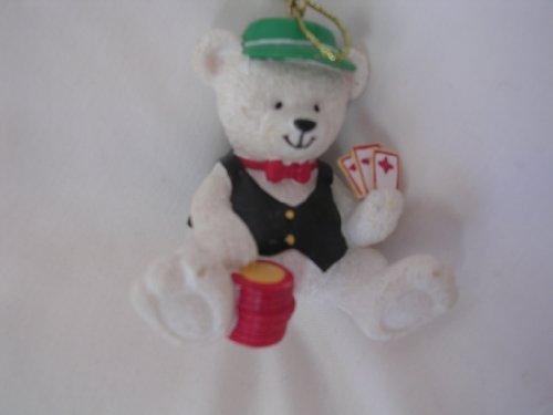 Christmas Ornament Teddy Bear 2 Collectible Home Decor  Poker Cards Gambling Vegas