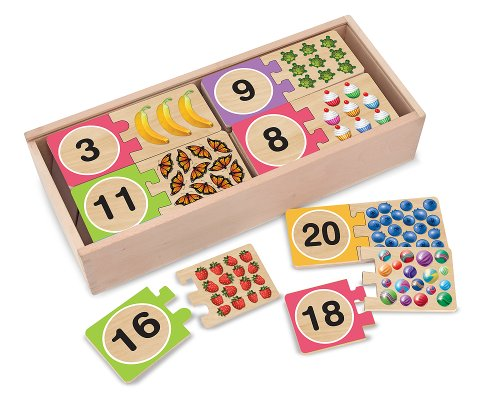 Melissa Doug Self-Correcting Wooden Number Puzzles With Storage Box 40 pcs