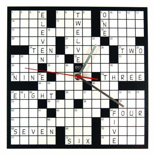 DCI Powder Coated Metal Crossword Puzzle Clock 11-12 Square