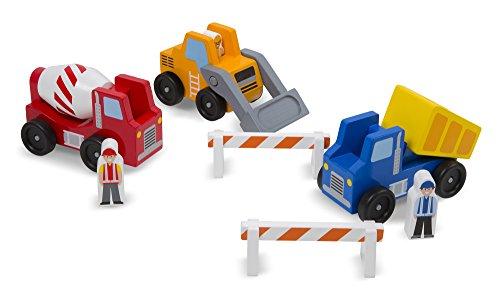 Melissa Doug Construction Vehicle Wooden Play Set 8 pcs