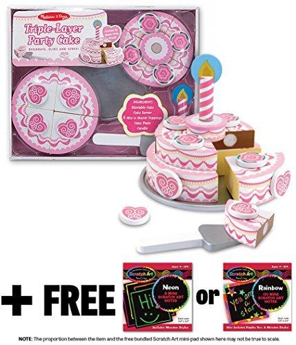 Triple Layer Party Cake - Wooden Play Food Set  FREE Melissa Doug Scratch Art Mini-Pad Bundle 40693