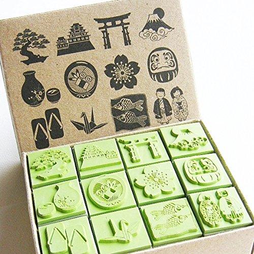 Np Crafts 12 Kids Rubber Stamp Scrapbook Supply Stamper Sakura Japanese Sarus Crane Dolls High Quality Rubber Stamp Set