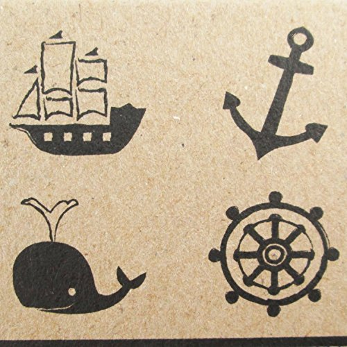 Np Crafts 4 Kids Rubber Stamps Anchor Scrapbook Stamper Nautical Marine Ocean Whale Sea Wheel Ship by Np Crafts