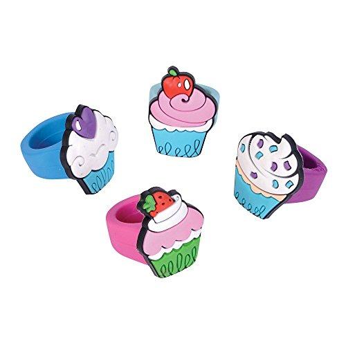 Rhode Island Novelty 24 Piece Kids Rubber Cupcake Ring Assorted