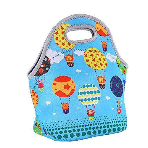 Yosoo Neoprene Lunch Bags insulation Waterproof thermal Picnic Lunch Food Handbag for Men Women Kids with Rubber Zipper Design Blue balloon