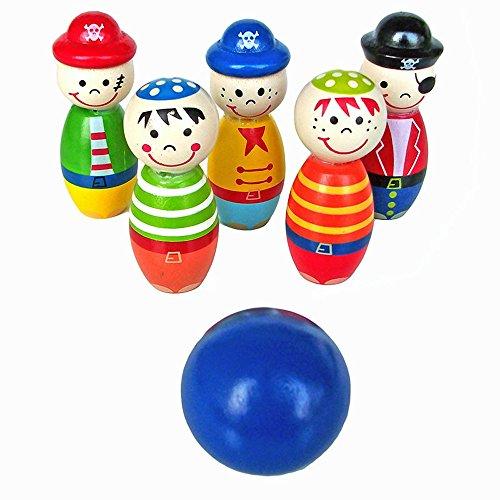 Buedvo Wooden Bowling BallChildren Toy Skittle Funny Shape for Kids Game