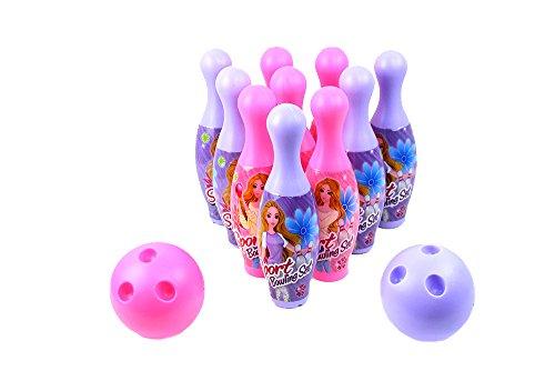 World King Toys Princess Sport Childrens Mini 12 Piece Toy Bowling Set w 10 Pins 2 Bowling Balls
