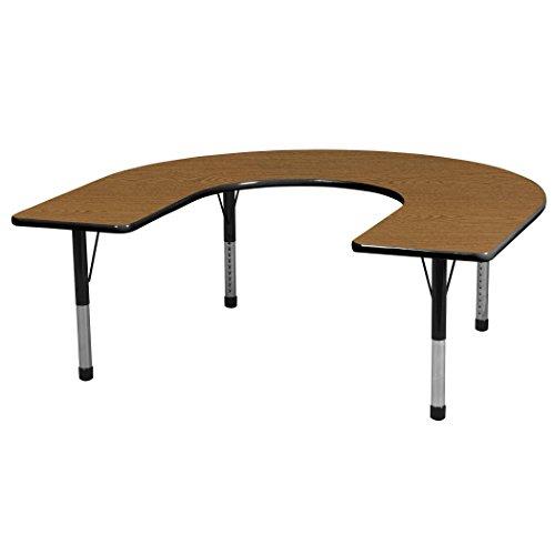 ECR4KIDS 60 x 66 in Horseshoe Adjustable Activity Table - Chunky Legs