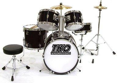 TKO 101 5-piece Childrens Drum Set with Throne Cymbals - Black
