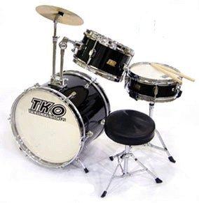 TKO 3-piece Childrens Drum Set with Throne Cymbal - Black