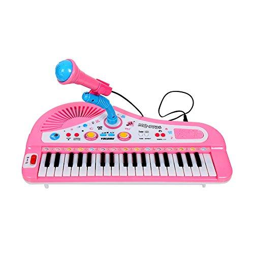 Dekoo Electronic Kids Piano  Microphone  Simulation of 37-Key Multi-function Organ Keyboard Volume Adjust Demo Songs Play Educational Toy USB Power Cord Included