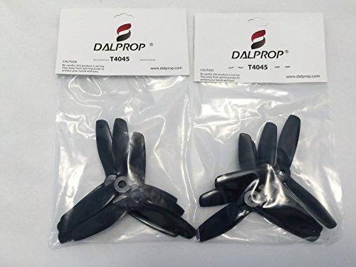 DalProps T4045 8 Count PC Plastic Black Tri-Blade Quadcopter Propellers 8 Black 4cw4ccw