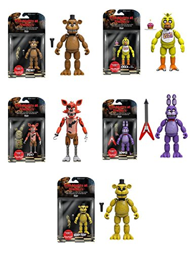 Five Nights at Freddys 5 Freddy Chica Foxy Bonnie Gold Freddy Action Figures Set of 5