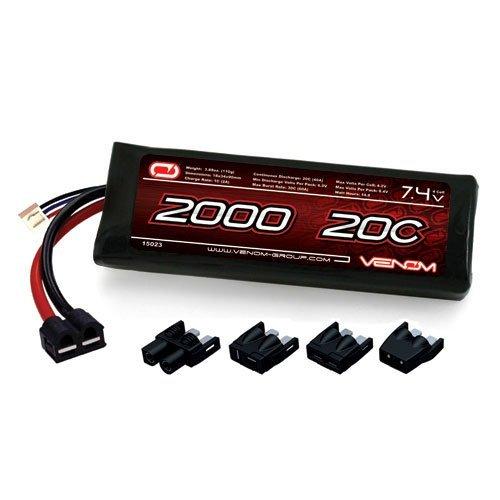 Venom LiPo Battery for Traxxas Slash 4X4 116 20C 74 2000mAh 2S with Universal Plug by Venom RC