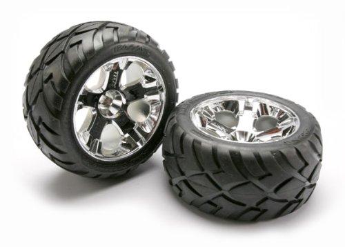Traxxas 5576R Anaconda Tires Pre-Glued on All-Star Chrome Wheels pair