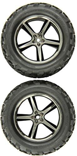 Traxxas 5374A Talon Tires Pre-Glued on Black-Chrome Gemini Wheel pair