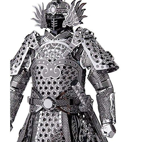 Kids Adult Toys 3D Construction Figures Model Puzzle General Samurai Warriors Armor for Children Tangram DIY Jointing Handmade Silver Color