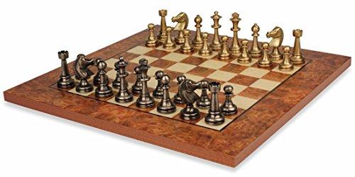 Staunton Brass Chess Set Elm Burl Chess Board Package