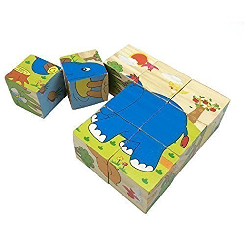 Joyeee 9 Pcs Wooden Cube Block Jigsaw Puzzles - Animal Pattern Blocks Puzzle for Child 3 Year and Up -- Perfect Christmas Gift Idea