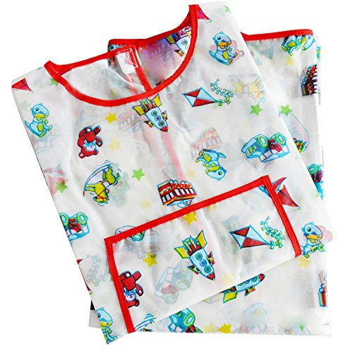Childrens Art Smock - SODIALRPainting Apron Childrens Art Smock Waterproof Long-sleeved Play Aprons Cartoon Smock Apron White