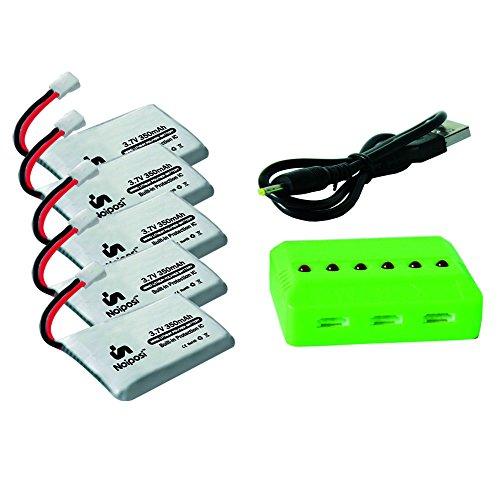 Noiposi 37V 350mAh 25C Lipo Battery 5Pcs And 1pcs X6 Charger for Dromium One,Holy Stone HS170HS170CF180W F180,Hubsan X4H107CH107D107L,JJRC 1000,XK X100M61XM62RUdiU816