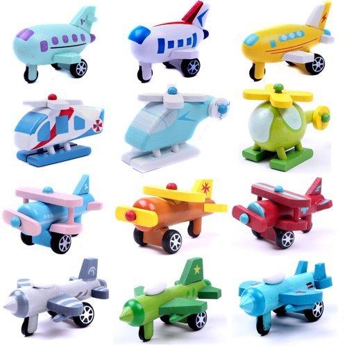 Toys Wood Plane Model Children Wooden Aircraft Toys 12 Design Airplane Set