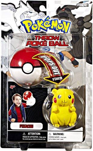 Pokemon Black White Toy Plush Series 1 Throw Poke Ball Pikachu by Jakks Pacific